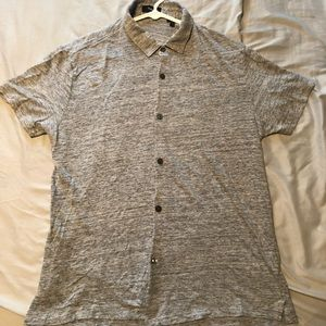 Theory Heather Gray Short Sleeve Button Down